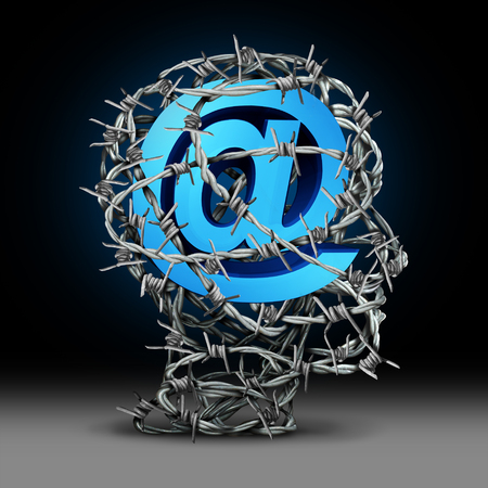 Internet privacy protection and cyber security technology information safety as an email symbol protected by barbed wire shaped as a person with3D render elements. Stock Photo