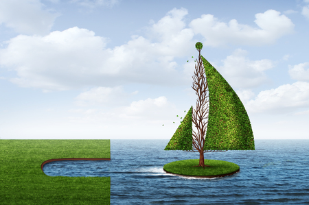 Explore opportunity business venture concept as a tree shaped as a boat as a metaphor to set sail towards success with 3D render elements.