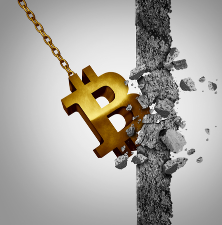 Bitcoin disruptive new economic and financial currency technology as a wrecking ball destroying a wall as a business symbol for finance economy with 3D illustration elements. Stock Photo