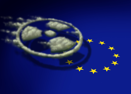 Radioactive cloud over europe as a gas shaped as a radiation icon drifting over a symbol of the european union in a 3D illustration style.