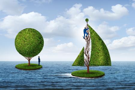 Intelligente Geschäftsplanung für die Zukunft als eine Person, die weg zum Erfolg mit einem Baum segelt und ein anderer Mann, der noch auf einer Insel mit 3D steht, übertragen Elemente.