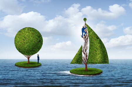 Smart business planning for the future as a person sailing away to success with a tree sail and another man standing still on an island with 3D render elements.