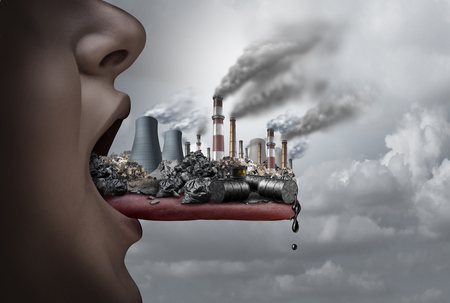 Toxic pollutants inside the human body and eating pollutants as an open mouth ingesting industrial toxins with 3D illustration elements. Archivio Fotografico