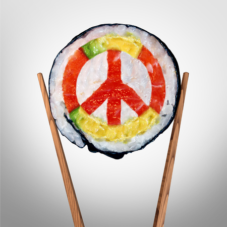 Peace in asia concept as a concept for a diplomatic agreement  in asian pacific countries as food with chop sticks shapes as a symbol with 3D illustration elements. Stock Photo