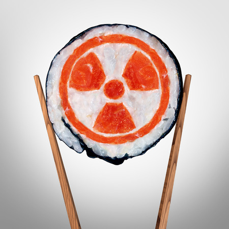 Radioactive food and contaminated meal with radioactivity as a piece of sushi held by chopsticks as a metaphor for nuclear threat in asia with 3D illustration elements.