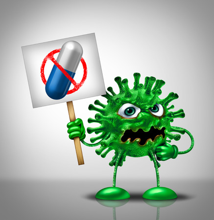 Medical virus medication concept as a green disease germ monster protesting medicine as a banned pill representing a cure therapy as a 3D illustration.