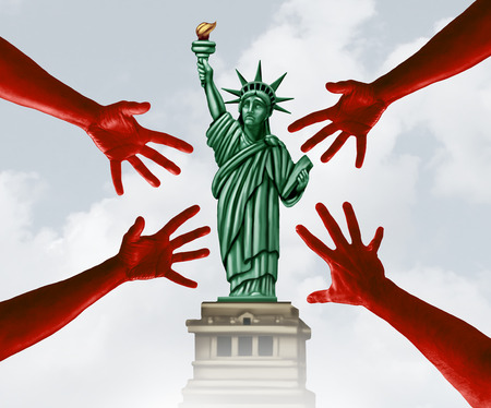 Sexual harassment in America and assault on women in the United States scandal as a symbol of criminal hands threatening the statue of liberty in a 3D illustration style. Stock Photo
