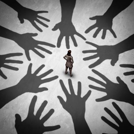 Concept de harcèlement sexuel et d'agression sexuelle sur le lieu de travail en tant que femme menacée de saisir les mains comme métaphore d'un problème social dans un style d'illustration 3D. Banque d'images