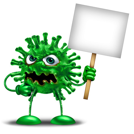 Disease character with blank sign as a virus holding a billboard as a green monster health medicine or medical pathology symbol on a white background as a 3D illustration.