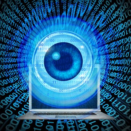 Computersicherheitsüberwachung oder Cybersecurity-Logistiküberwachung als Laptopnotizbuch mit einem digitalen Auge, das als 3D aufpasst, übertragen.