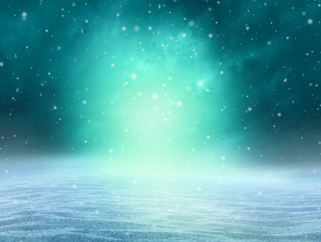 Magical winter background as a fantasy snow landscape with an arctic northern Aurora Borealis natural illumination in a 3D illustration style.