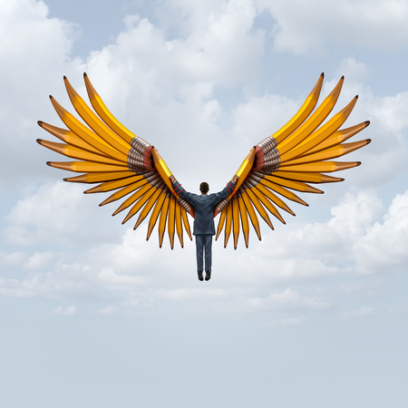 Business creative freedom as a leader flying with wings made of pencils as an imagination journey to creativity success with 3D illustration elements.