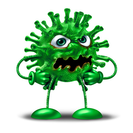 Cartoon virus character as a green disease monster creature as a health medicine or medical pathology symbol as a pathogen clip art icon on a white background as a 3D illustration.