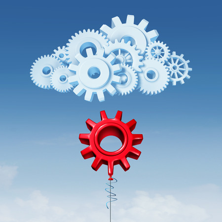 Join Cloud Computing data server services technology concept as a red balloon shaped as a gear joining a network  made of mechanical cogs as a 3d Illustration. Stock Photo