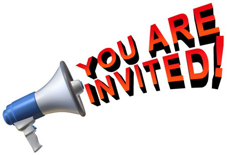 You are invited welcome greeting as a megaphone communicating text as an invitation concept as a 3D illustration.