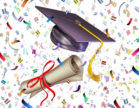 毕业教育庆祝仪式作为灰浆委员会或毕业生盖帽和文凭被扔在与党五彩纸屑的空气中作为3d回报。