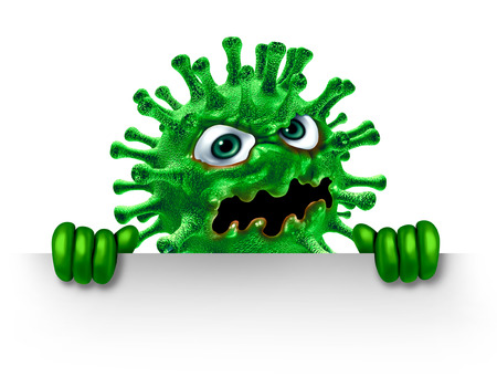 Virus character holding a blank sign as a green disease monster as a health medicine or medical pathology symbol as a pathogen on a white background as a 3D illustration.
