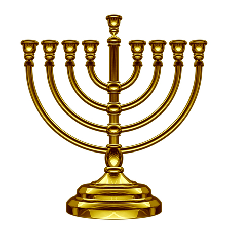 Hanukkah menorah seasonal traditional faith symbol isolated on a white background as a 3D illustration.
