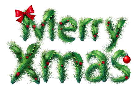 Merry xmas and Christmas text as a winter seasonal holiday symbol with lettering made out of ornaments and season decoratrions isolated on a white background. Stock Photo