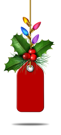 Christmas season holiday price tag sale as a christmas sales retail promotion symbol as a boxing day or new year special discount icon as a 3D illustration.