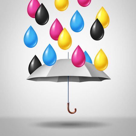 CMYK color concept as magenta cyan yellow and black raining down as drops on a white umbrella with 3D illustration elements. Stock Photo