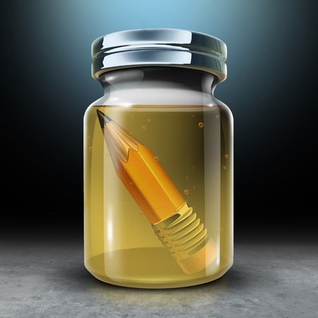 Preserving education concept and to preserve learning and design metaphor as a jar with a pencil preserved in preservative formaldehyde as a 3D illustration.