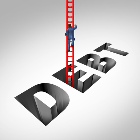 Getting out of debt and escaping financial problems as a person climbing with a ladder from bankruptcy and budget stress with 3D illustration elements.