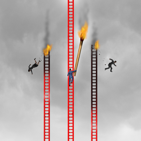 Criminal practices and corporate crime concept as a cruel agressive businessman burning the competition with 3D illustration elements. Zdjęcie Seryjne