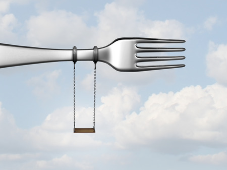 Kids meal concept as a kitchen or restaurant fork with a playground swing as a children menu symbol with 3D illustration elements. Stock Photo