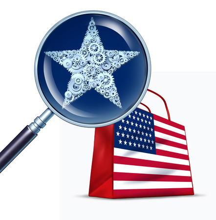 United States commerce business concept as a magnifying glass studying a star close up made of cogs for the american flag as a 3D illustration.