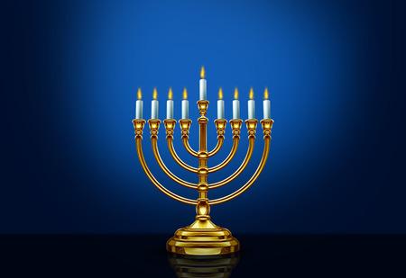 Happy Hanukkah menorah seasonal traditional faith symbol on a blue background as a 3D illustration.