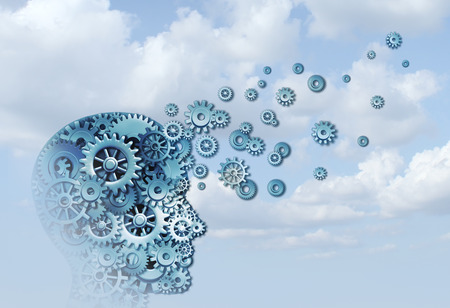 Learning cloud and education business training concept as a head in the sky made of machine cogs with 3D illustration elements.