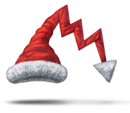 Holiday debt and christmas financial loss business concept as a santa claus hat shaped as a downward finance chart arrow in a 3D illlustration style. Stock Photo