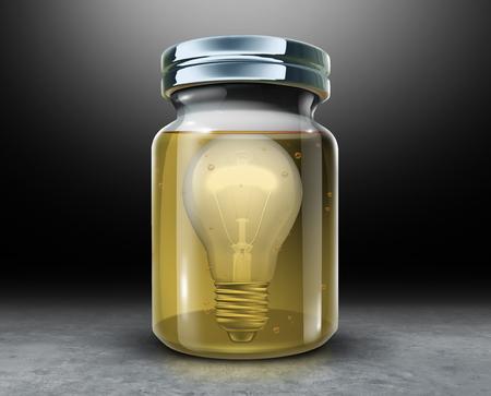 Behoud creativiteitconcept en behoud van intellectueel eigendomssymbool als gloeilamp in een pot met conserveermiddelformaldehyde als 3D-afbeelding. Stockfoto