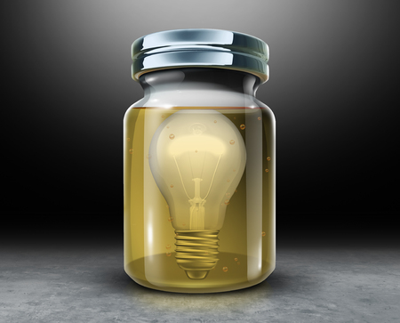 Preserve creativity concept and preserving intellectual property symbol as a light bulb inside a jar with preservative formaldehyde as a 3D illustration.