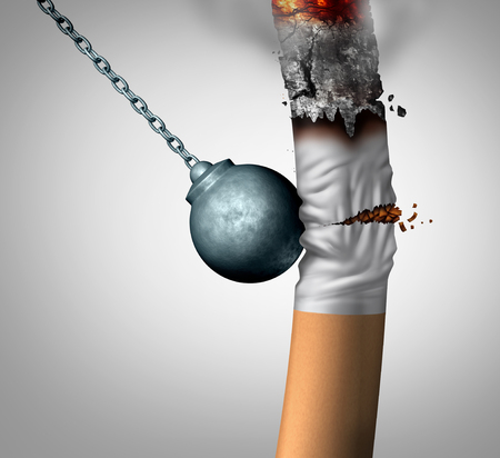 Breaking a smoking habit and quiting the smoker addiction as a wrecking ball crushing a cigarette as a nicotene smoke prevention concept as a 3D illustration. Stock Photo