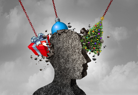 Holiday headache as a human head shape made of concrete being pounded by christmas symbols as a seasonal depression and stress concept as a 3D illustration. Stock Photo