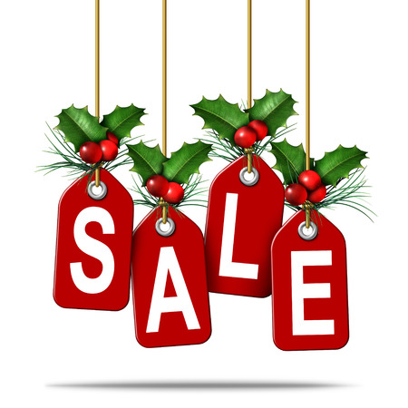 Holiday price tag sale as a christmas sales retail promotion concept as a boxing day or new year special discount symbol as a 3D illustration. Banque d'images