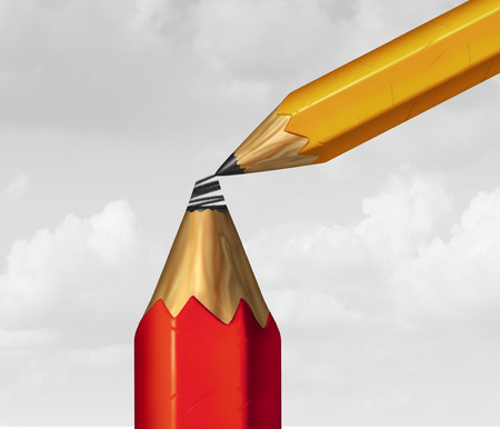 Assistance business concept as a metaphor for planning and improvement as a smaller pencil supporting by drawing a tip as a 3D illustration. Stock Photo