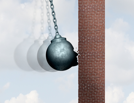 Hit a brick wall struggle concept as a wrecking ball shaped as a human head hitting an obstacle with 3D illustration elements.