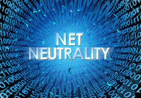 Net neutrality concept as an internet regulation idea with text and binary cade as an online technology metaphor for web freedom as a 3D illustration. Banque d'images
