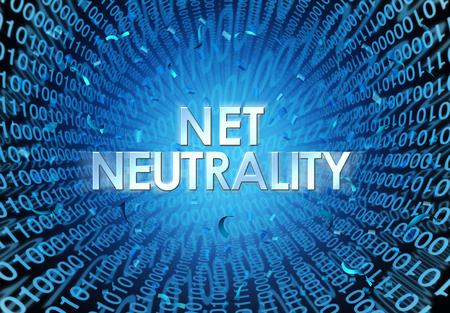 Netneutraliteitsconcept als idee voor internetregulering met tekst en binaire cade als online technologiemetafoor voor webvrijheid als 3D-afbeelding.