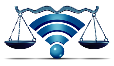 Net neutrality symbol or open internet wifi icon as a justice scale with text as an online metaphor for standards in access to digital online content with 3D illustration.