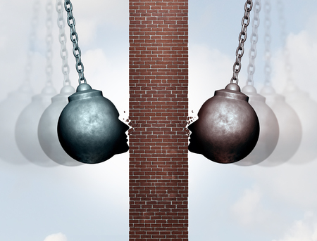 Breaking wall of communication and break down the dividing barrier between business people or clients as wrecking balls destroying an obstacle with 3D illustration elements.