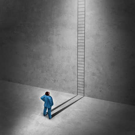 Visionary for solution success as a businessman casting a shadow of a ladder that climbs up the wall with 3D illustration elements as a motivational concept,