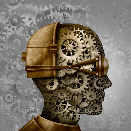 Steampunk and steam punk antique machine technology intelligence design as a retro gear cyberpunk and machine cog head design as science fiction fantasy art as a 3D illustration. Foto de archivo