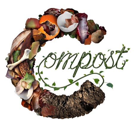 Compost concept and composting symbol life cycle and an organic recycling system as a pile of rotting food scraps with a sapling growing shaped as text in a 3D illustration style. Stock Photo