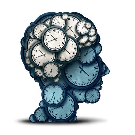 Tijdmanagement geest en zakelijke planning of deadline planning als een menselijk brein gemaakt van klokobjecten als een 3D-afbeelding. Stockfoto