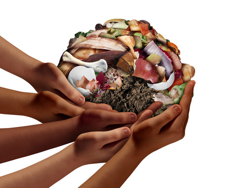 Composting community cooperation concept and composting symbol as diverse hands holding a pile of rotting food compost scraps in a 3D illustration style. Stock Photo