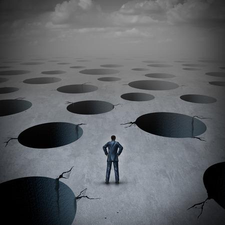 Notion de piège en tant qu'homme d'affaires vulnérable confronté à des risques tels que le risque d'incertitude, une idée de stress d'incertitude avec illustration 3D. Banque d'images - 91914356